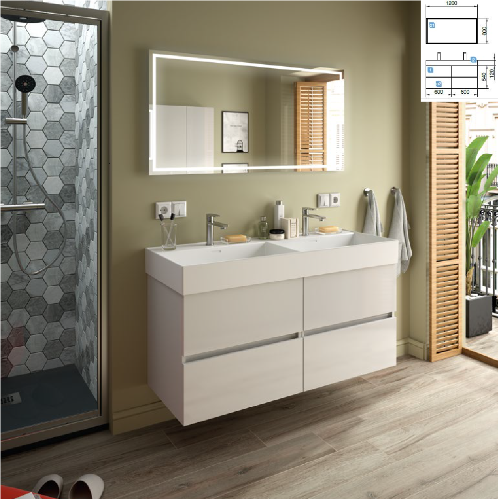 Fussion Line Blanco Brillo 1200 + lavabo Veneto doble