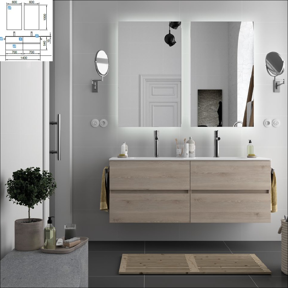 Fussion Line Natural 700 + 700 + lavabo sofia